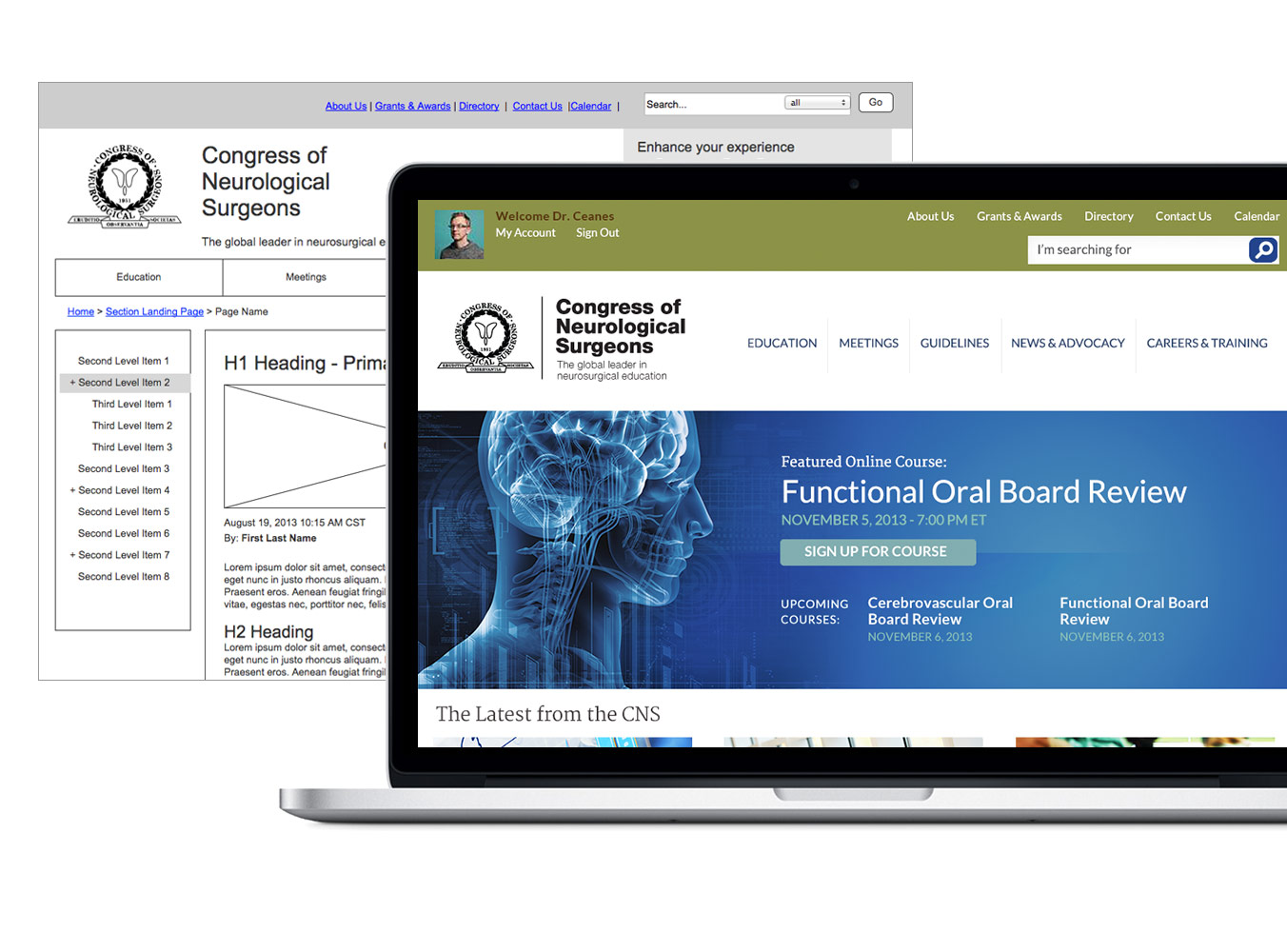 Responsive design for Congress of Neurological Surgeons